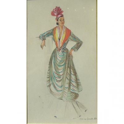Aquarelle De Mode 1951 Signee Femme Des Iles