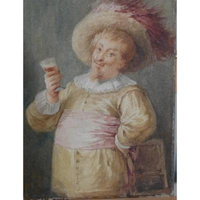 Aquarelle Taverne Signe Marin 1883  17,5 x 25,3