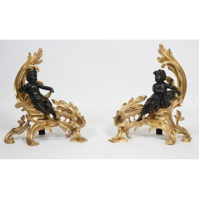 """Pair Of Andirons """"allegories Des Arts"""" Louis XV Style"""