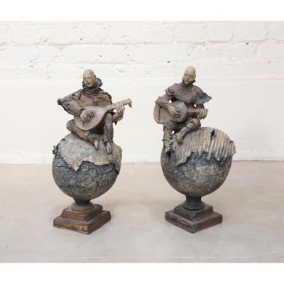 """Paire De Sculptures """"joueurs De Guitare Et De Mandoline"""" De Cheryl Chase"""