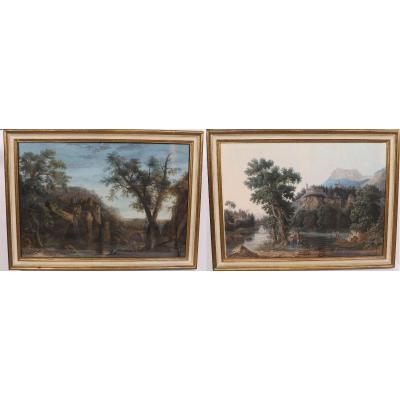 Paire De Gouaches Italienne - Jean-baptiste Pourcelly (act. 1791-1802)