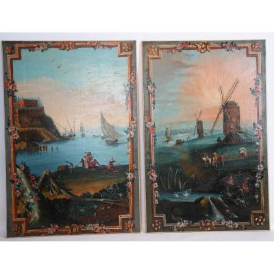 Ensemble De Tableaux De Paysages Panoramiques, Milieu Du XVIIIe Siècle