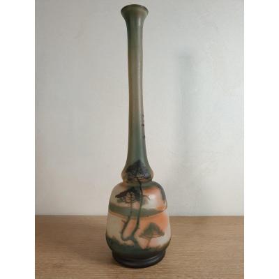 Vase Pâte De Verre Muller + Lunéville Décor Lacustre - Pins