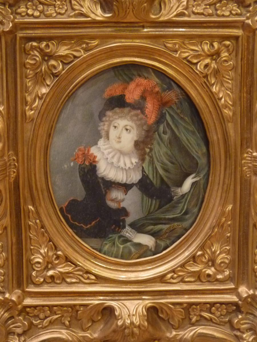 Miniature, Portrait d'Adélaide de Presle de Surville d'après Vigée-Lebrun, époque Restauration