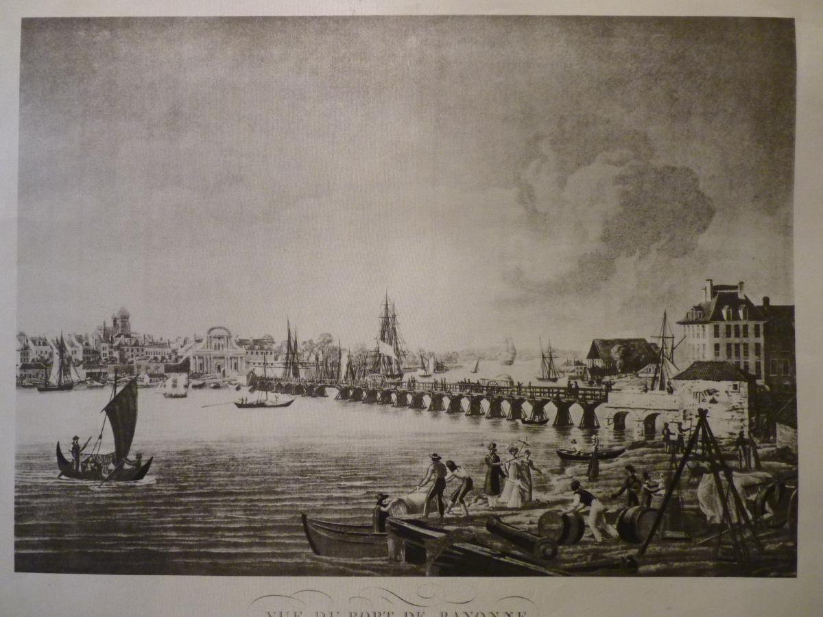 Vue Du Port De Bayonne, Gravure Sur Soie d'Après Ambroise Louis Garneray (1783-1857)