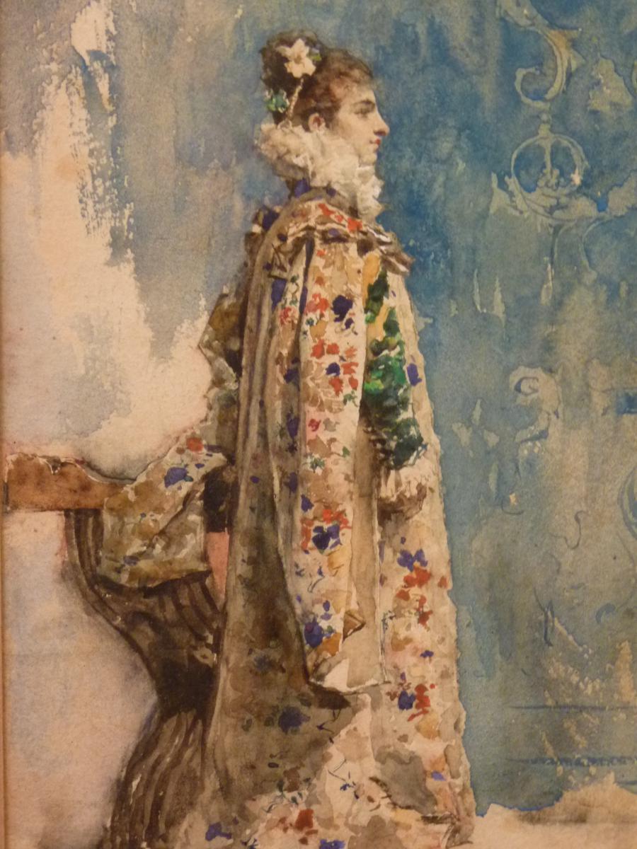 Attilio Simonetti (1843-1925), Portrait De Sarah Bernhardt, Aquarelle