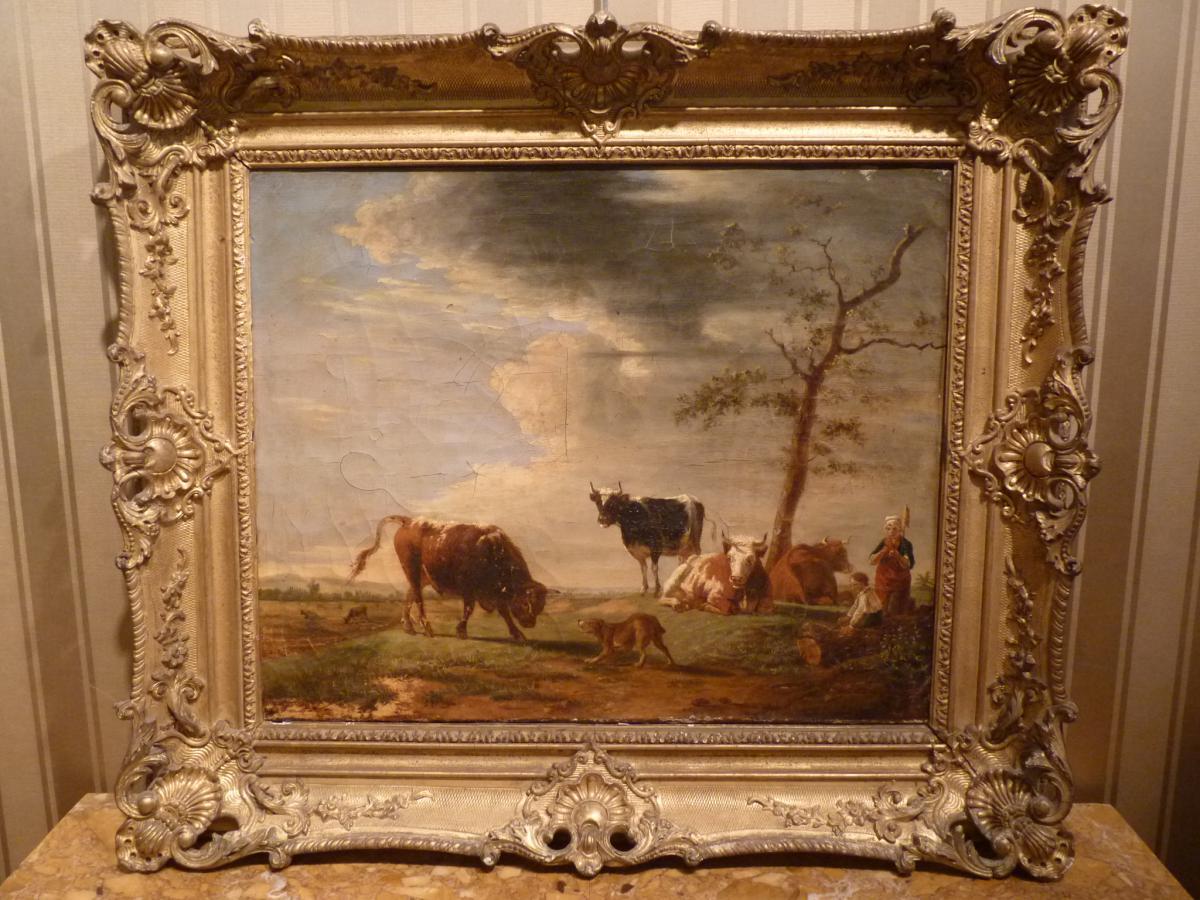 Jean Baptiste Berré (1777-1838), Vaches Au Paturage, Huile Sur Toile, 1835