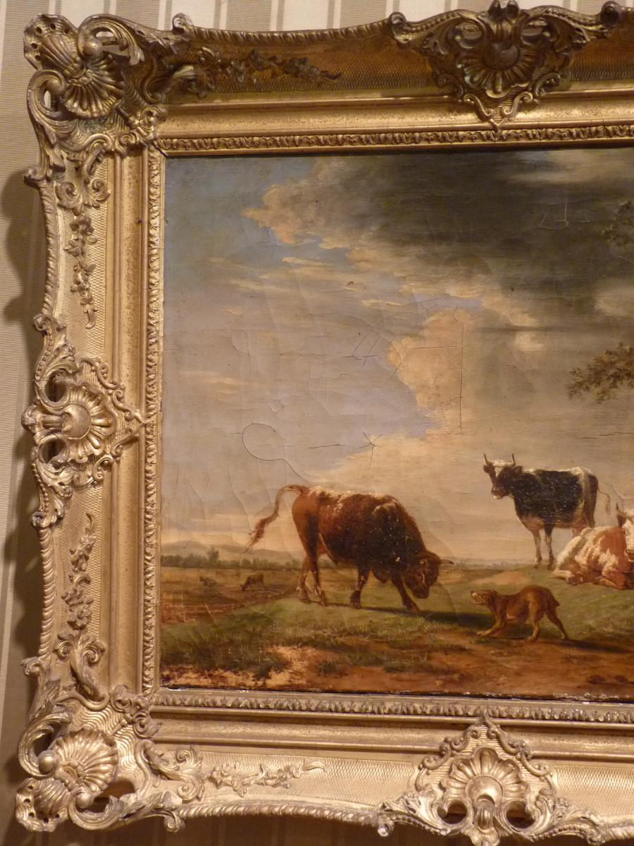 Berré Jean Baptiste (1777-1838), Cows In Pasture, Oil On Canvas, 1835-photo-4