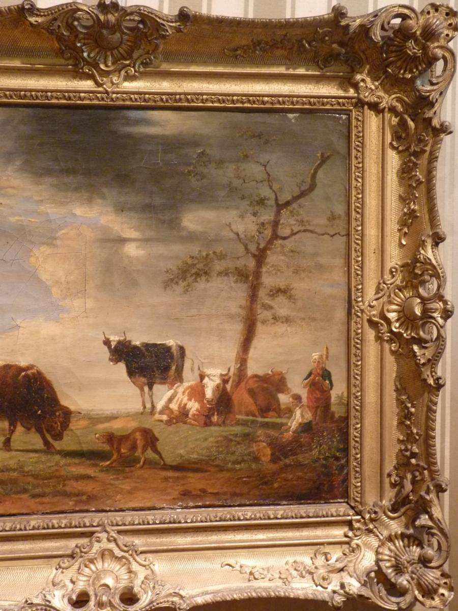 Berré Jean Baptiste (1777-1838), Cows In Pasture, Oil On Canvas, 1835-photo-1