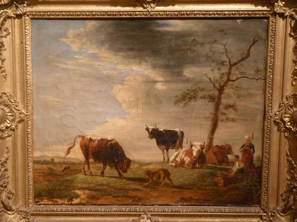Berré Jean Baptiste (1777-1838), Cows In Pasture, Oil On Canvas, 1835-photo-2