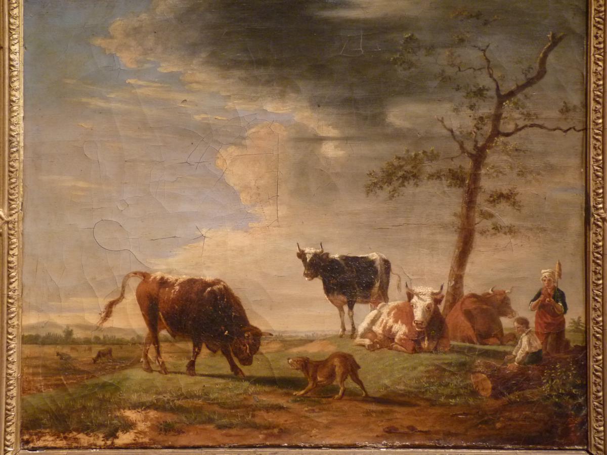 Berré Jean Baptiste (1777-1838), Cows In Pasture, Oil On Canvas, 1835-photo-3