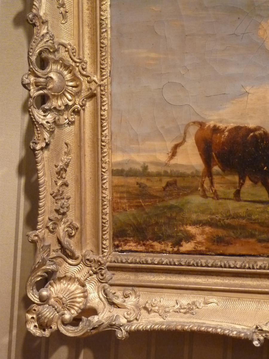 Berré Jean Baptiste (1777-1838), Cows In Pasture, Oil On Canvas, 1835-photo-5