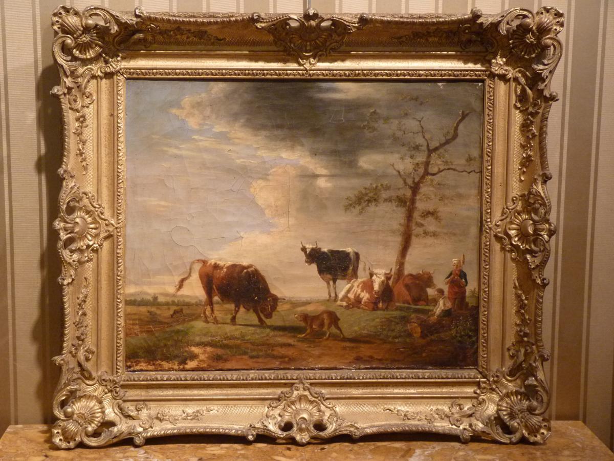 Berré Jean Baptiste (1777-1838), Cows In Pasture, Oil On Canvas, 1835-photo-8