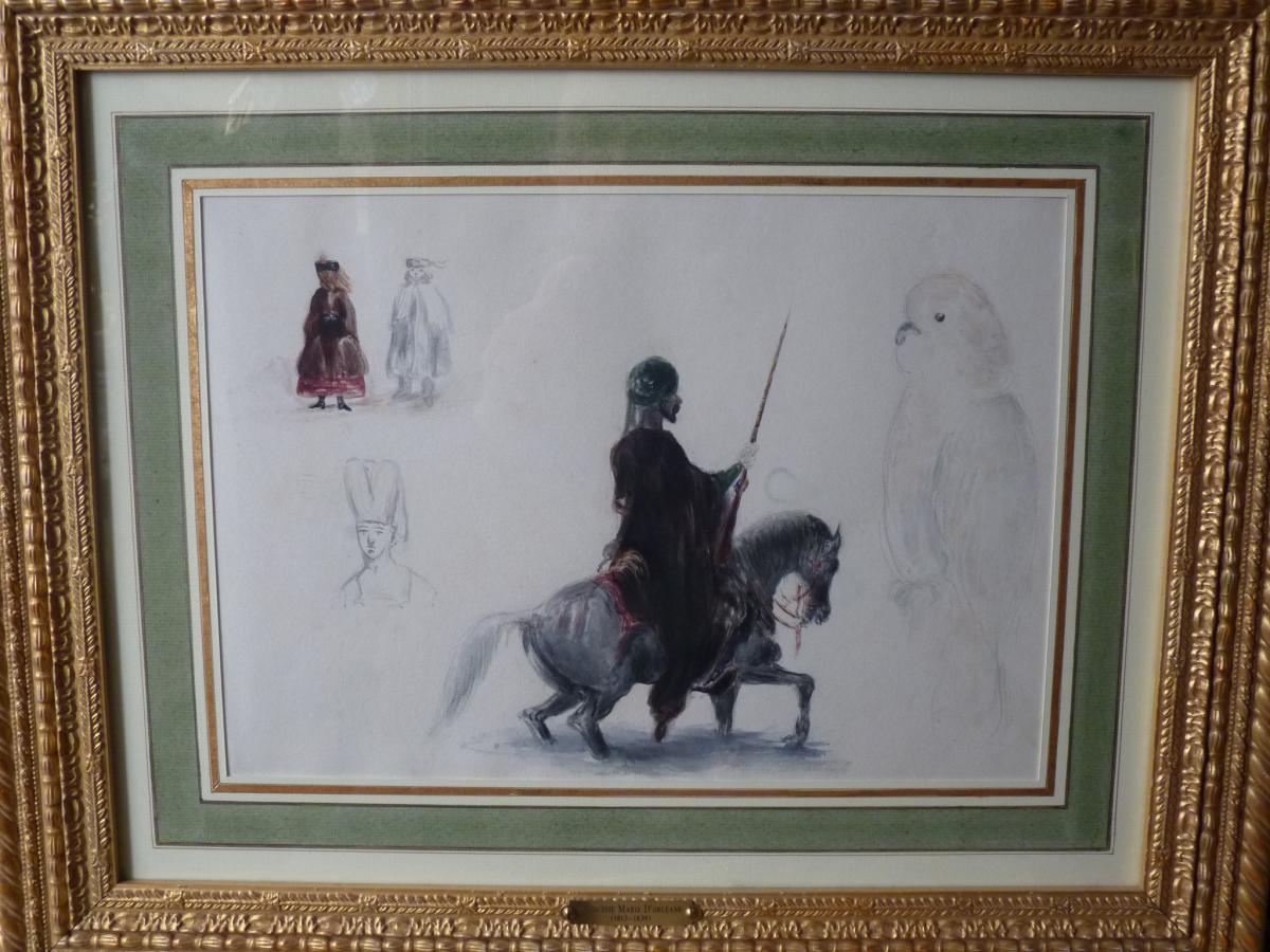 Princess Marie d'Orleans (1813-1839), Watercolour At Cavalier Arabic Collection Comte De Paris