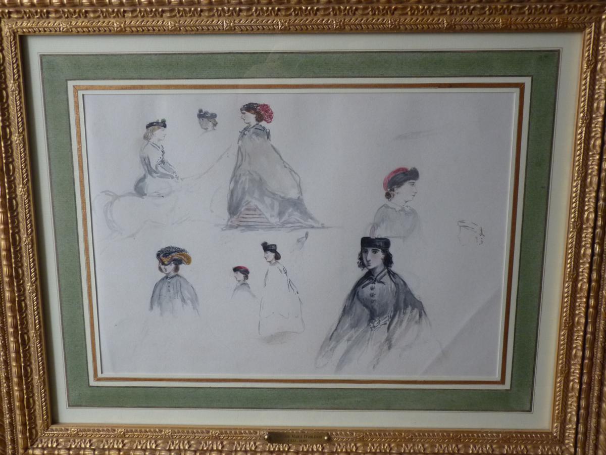 Princesse Marie d'Orléans, Aquarelle, Etudes De Dames, Collection Comte De Paris
