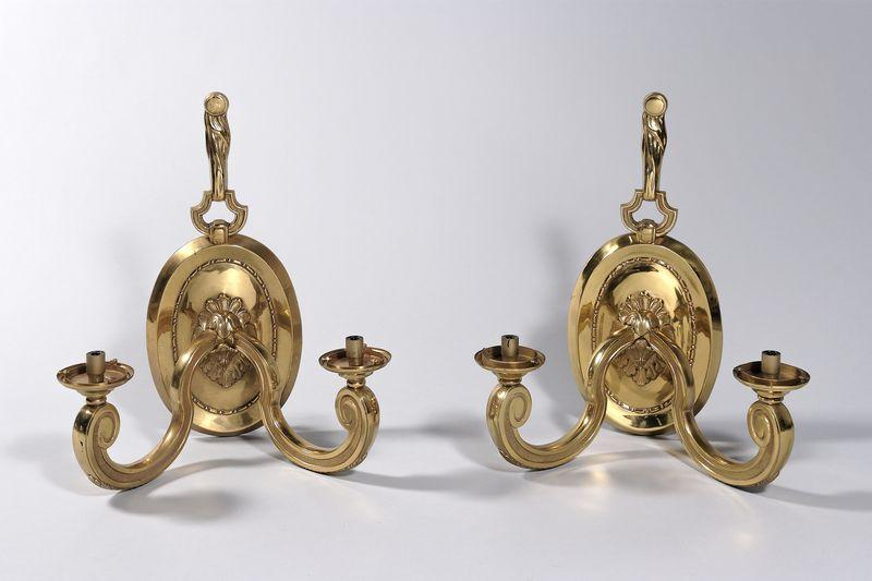 Charles House, Great Pair Of Wall, Style Louis XIV, Golden Bronze
