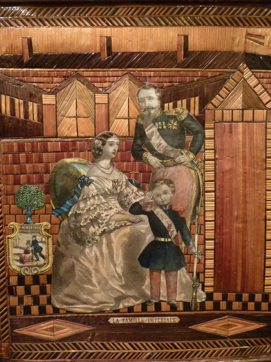 La Famille Impériale, Tableau En Marqueterie De Paille, époque Napoleon III