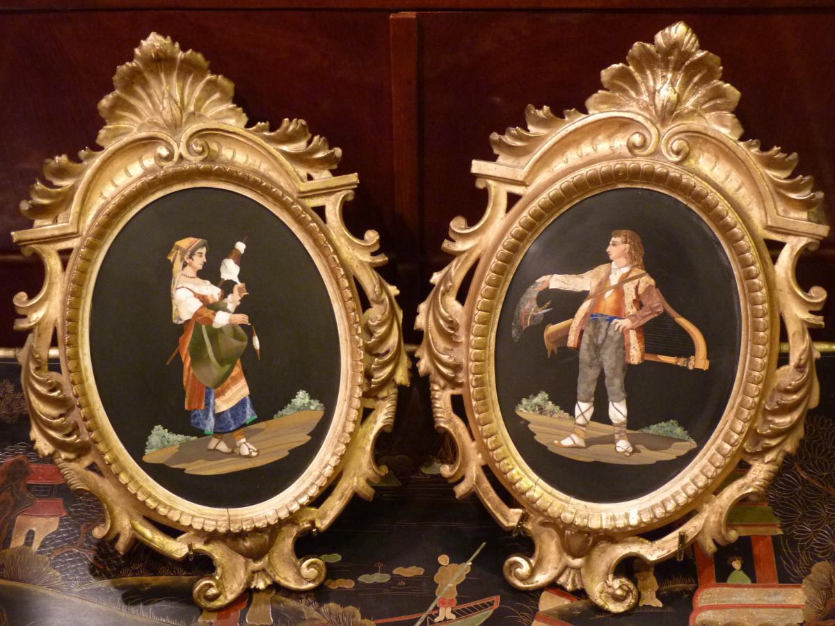 Paire De Médaillons, Marqueterie De Pierres Dures, Italie, 19ème Siècle