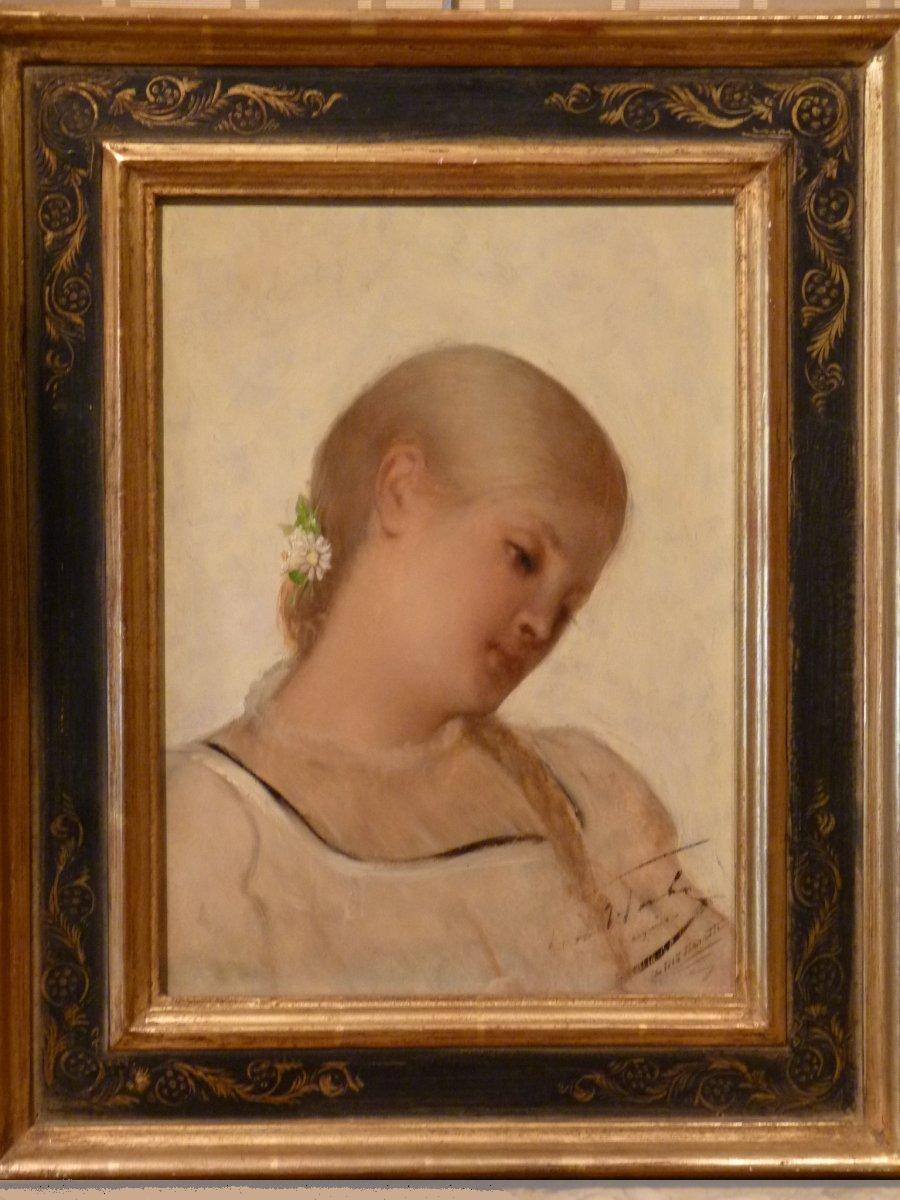 Léon Herbo (1850-1907), Portrait De Jeune Fille, Huile Sur Panneau