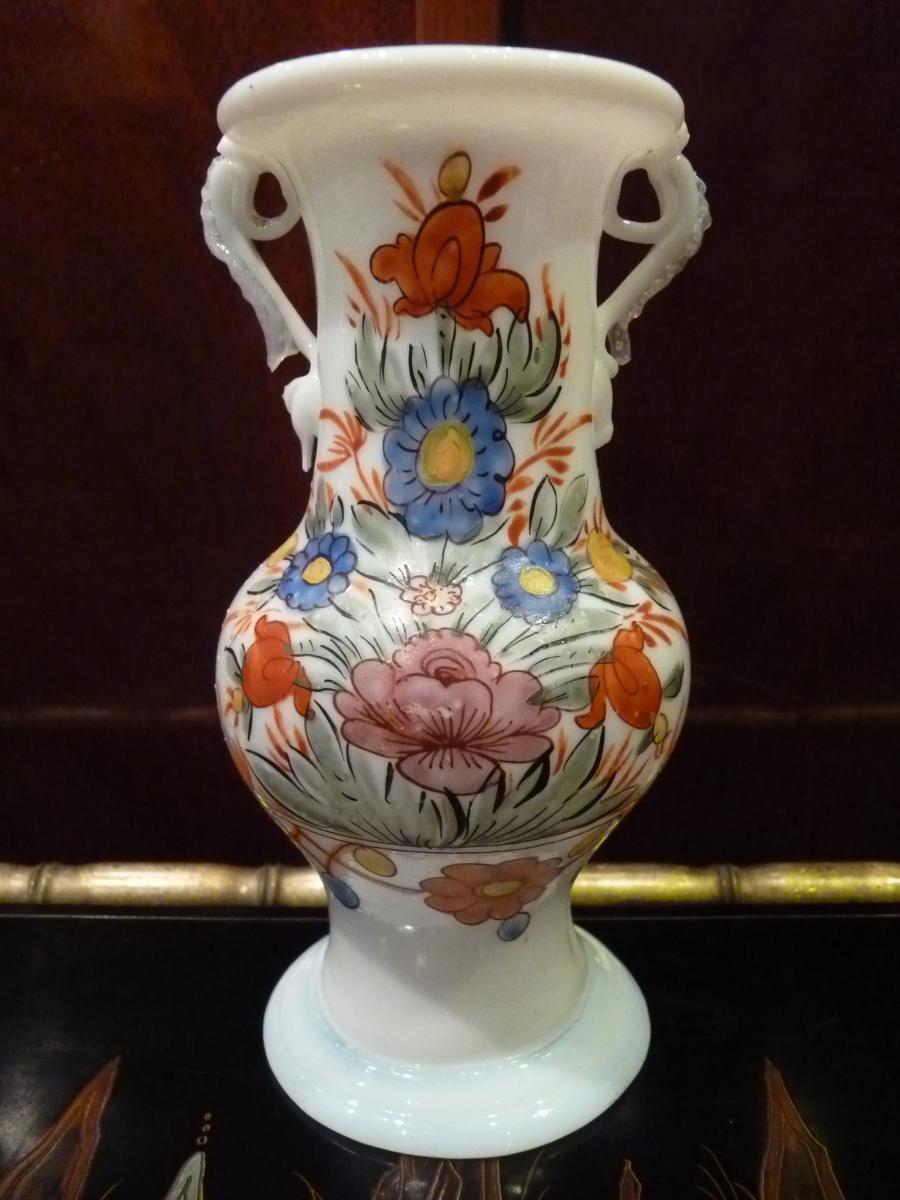 Vase En Opaline, Décor Fleuri, Allemagne 18ème Siècle