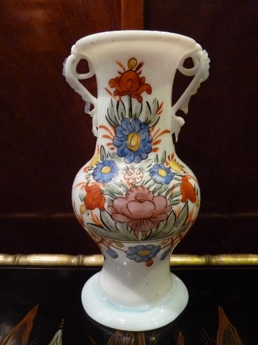 Vase En Opaline, Décor Fleuri, Allemagne 18ème Siècle-photo-2