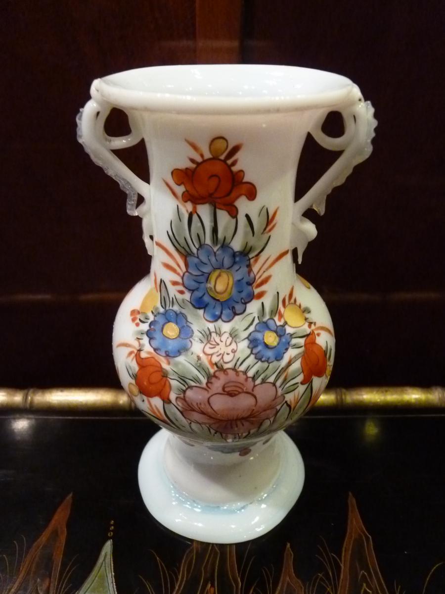 Vase En Opaline, Décor Fleuri, Allemagne 18ème Siècle-photo-3
