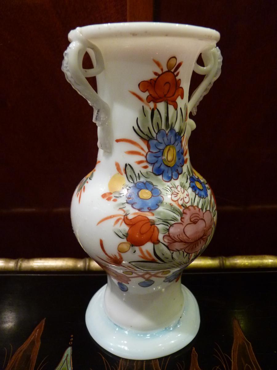 Vase En Opaline, Décor Fleuri, Allemagne 18ème Siècle-photo-4