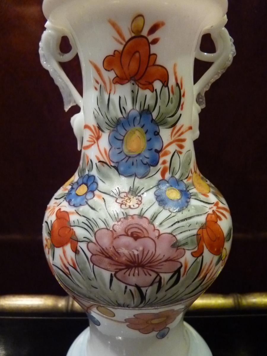 Vase En Opaline, Décor Fleuri, Allemagne 18ème Siècle-photo-1