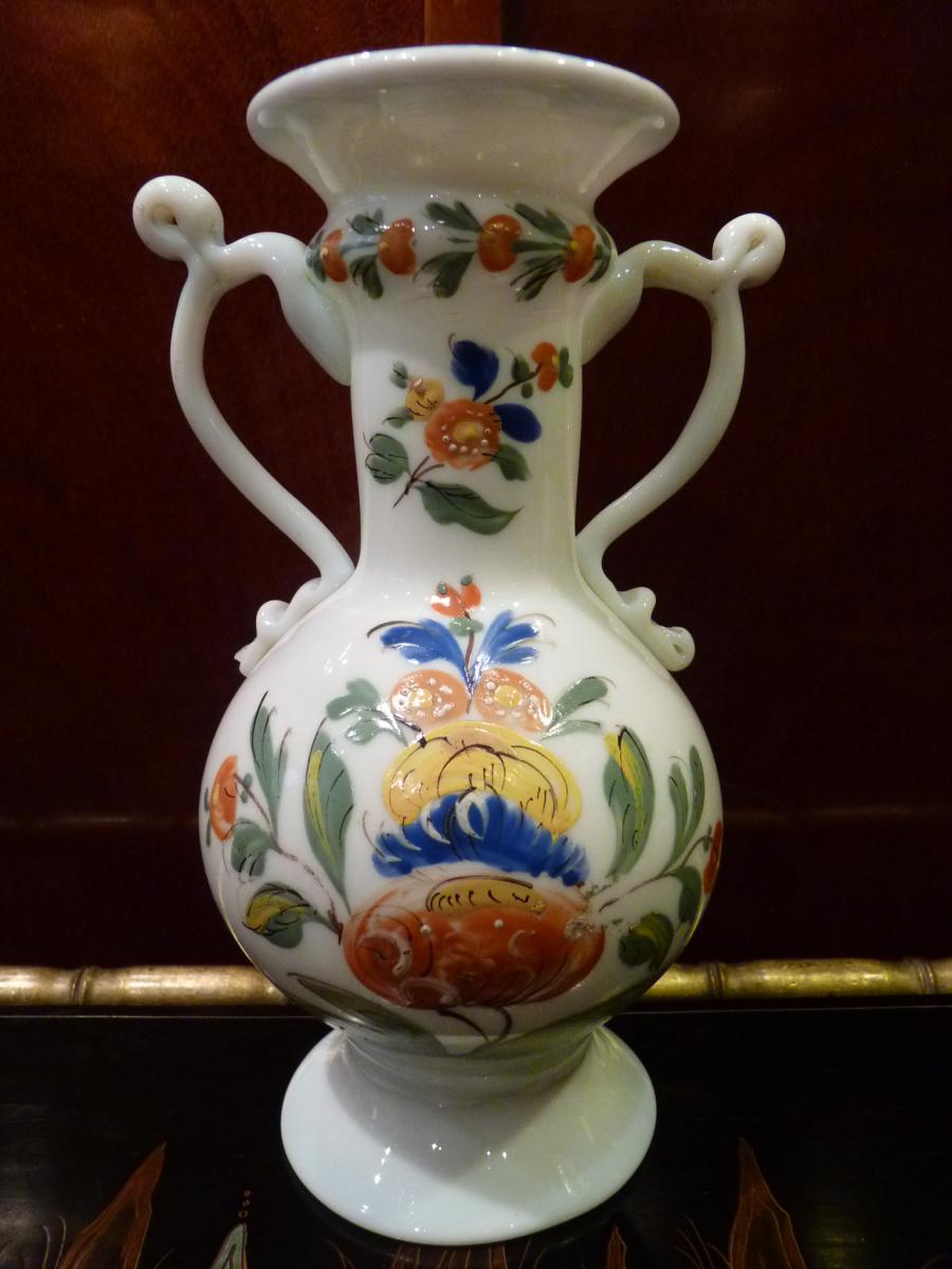 Vase anses d cor de fleurs opaline 18 me si cle for Decoration 18eme siecle