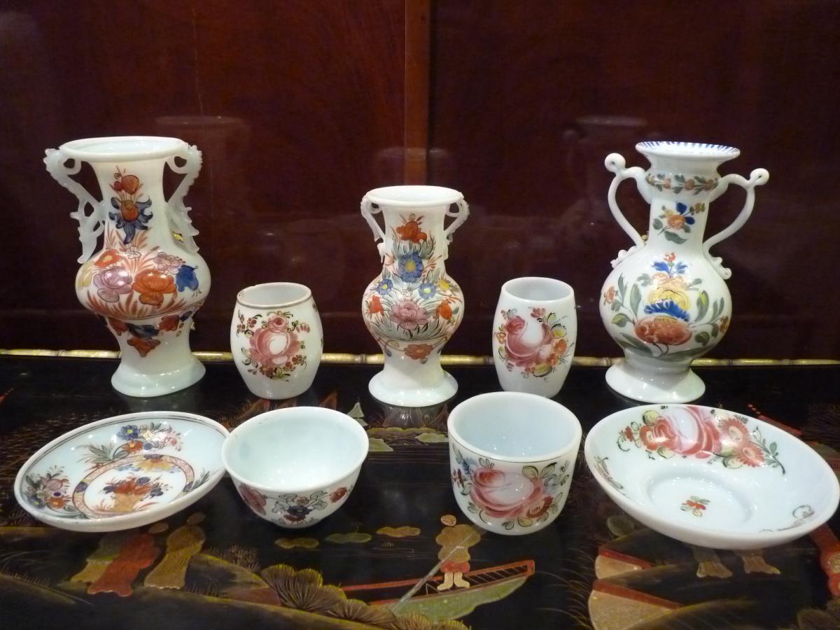 Vase anses d cor de fleurs opaline 18 me si cle for Decoration 18eme siecle