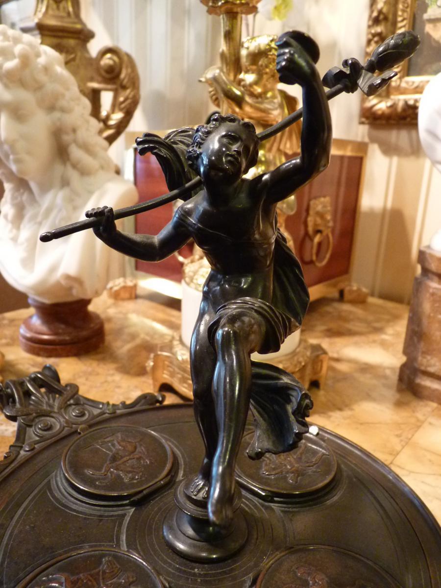 Encrier Neoclassique à l'éphèbe, Bronze, époque Napoléon III-photo-5