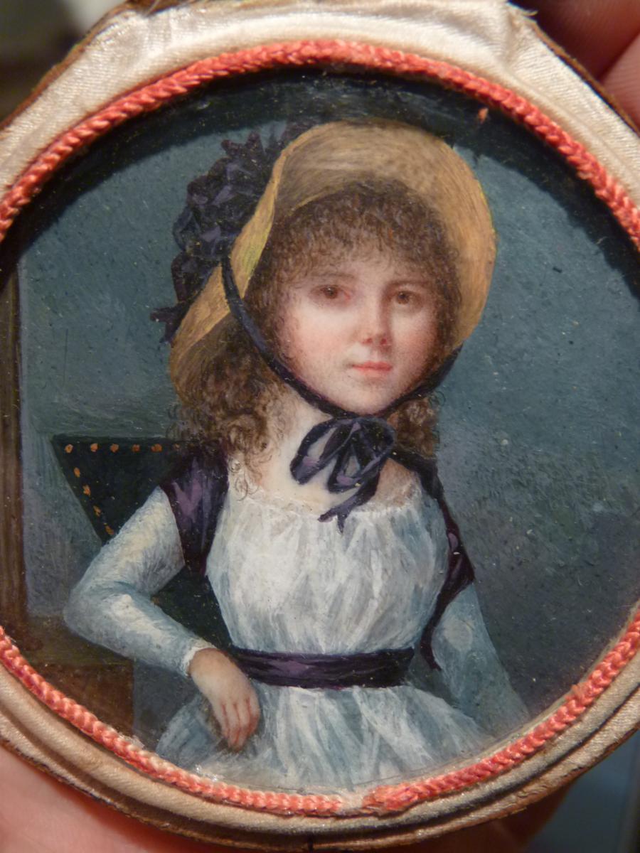 Jean Alexandre Boquet (1752-1828) Miniature, Jeune Femme Au Chapeau De Paille, Fin 18e Siècle