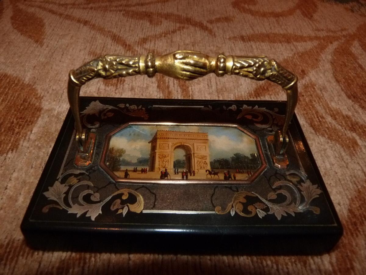 Paperweight At The Arc De Triomphe, Att. Lebelle, Restoration Period