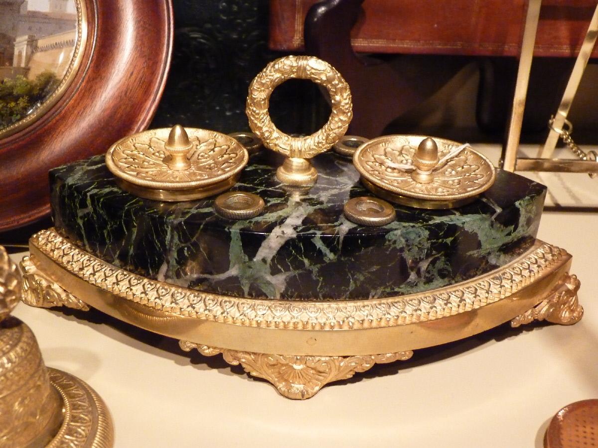 Encrier Bronze Doré Et Marbre, Style Néo-gothique, époque Restauration