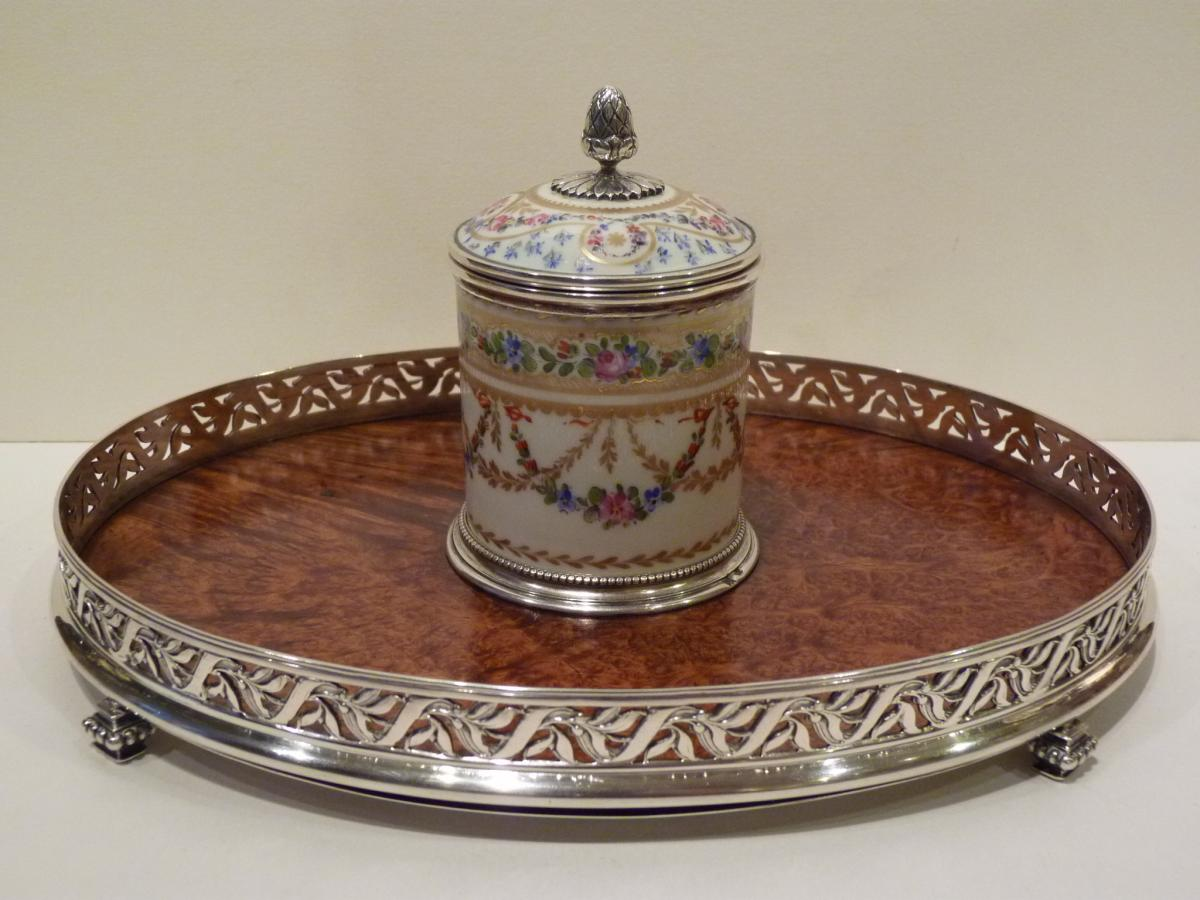 Inkwell In Silver, Elm Loupe, Porcelain Vienna, Austria Reign François Joseph