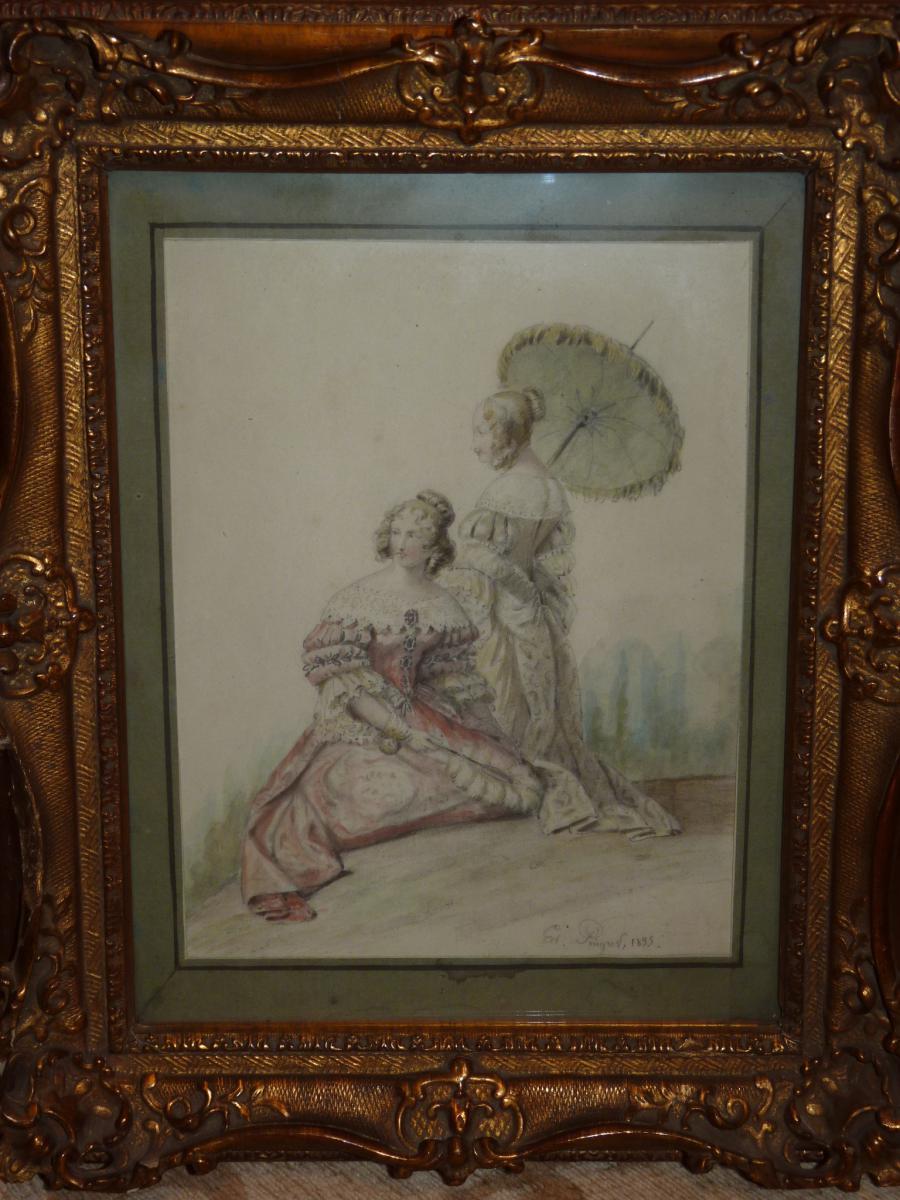Edouard Pingret, Deux Dames De Qualité, Aquarelle, époque Restauration