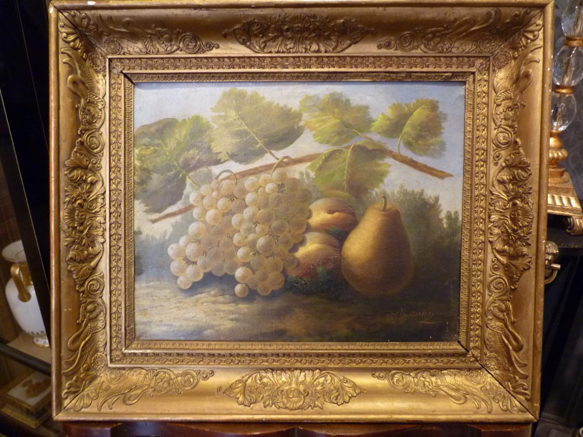 Nature Morte Aux Raisins, Tableau Signé, époque Empire