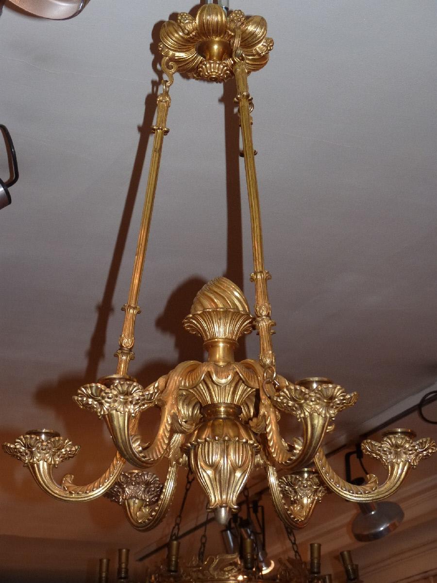 Lustre En Bronze Doré, Milieu XIXème Siècle