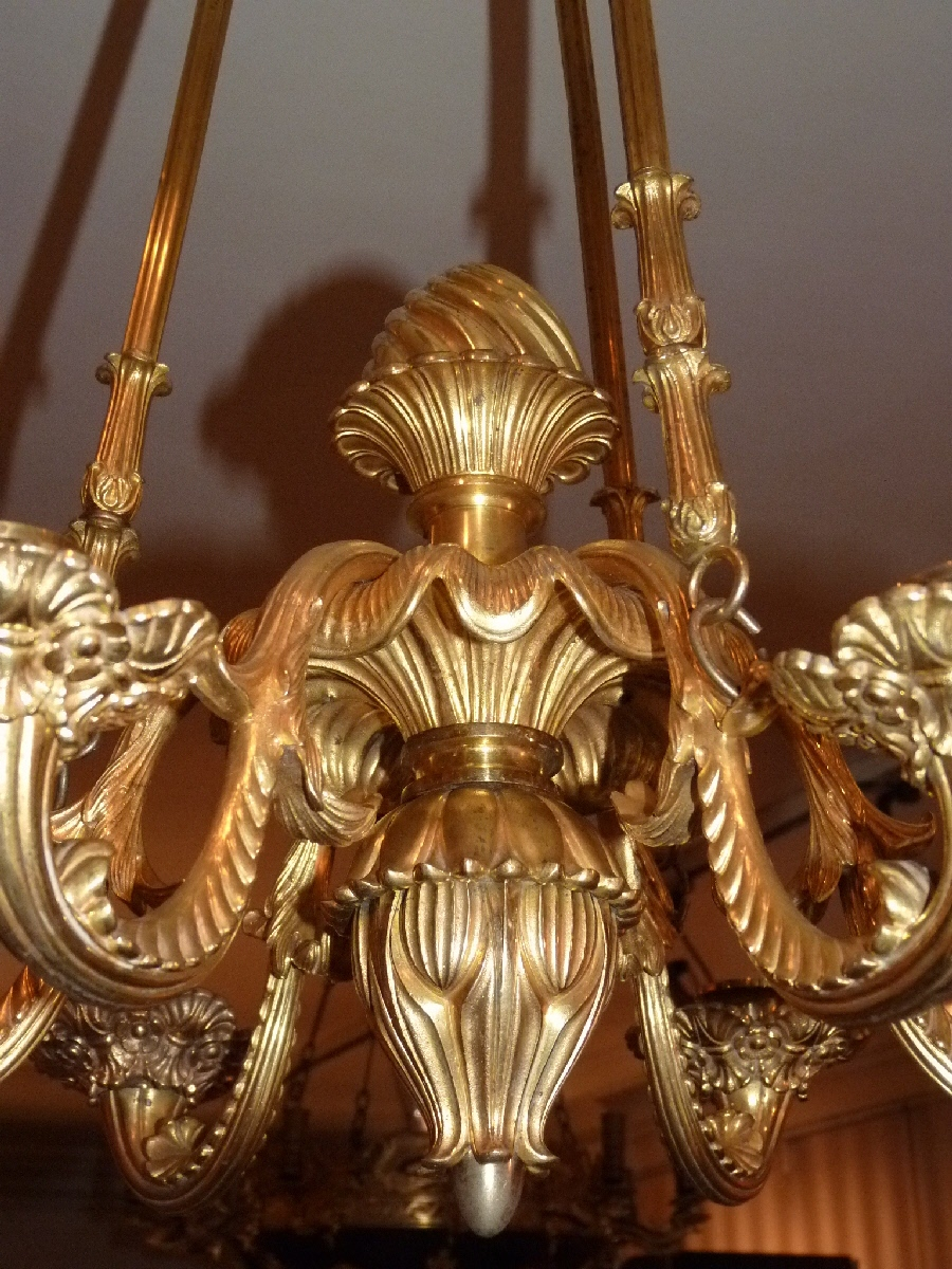 Lustre En Bronze Doré, Milieu XIXème Siècle-photo-2