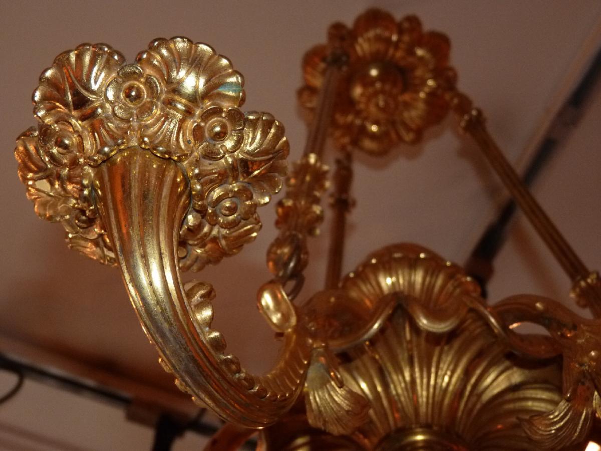 Lustre En Bronze Doré, Milieu XIXème Siècle-photo-3