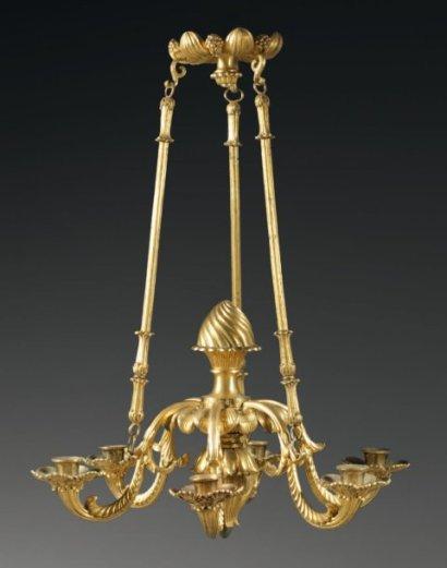 Lustre En Bronze Doré, Milieu XIXème Siècle-photo-4
