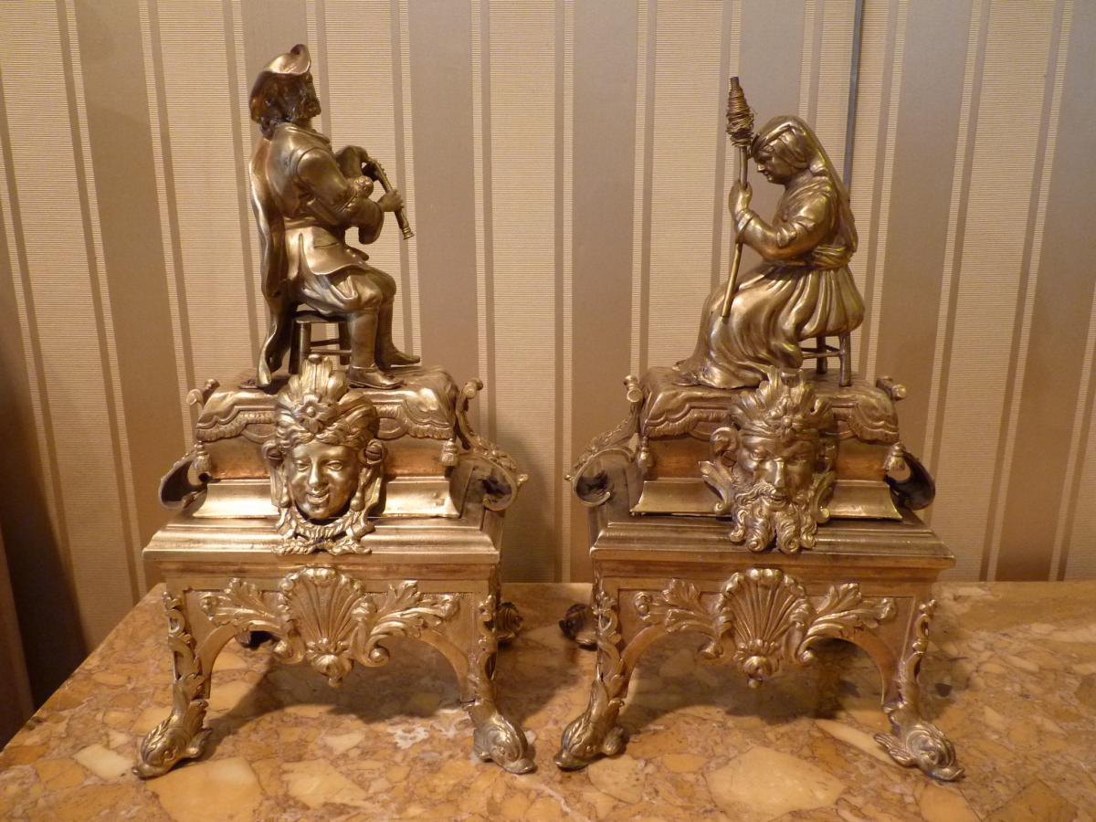 Paire De Chenets, époque Régence, Bronze Doré