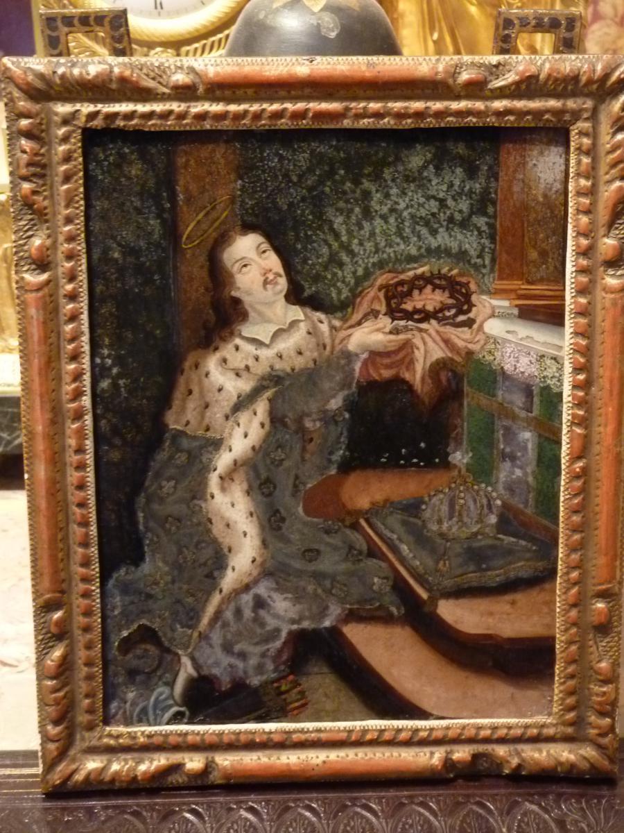 Le roi louis ix dit saint louis fix sous verre 18 me si cle tableaux por - Fixe sous verre ancien ...