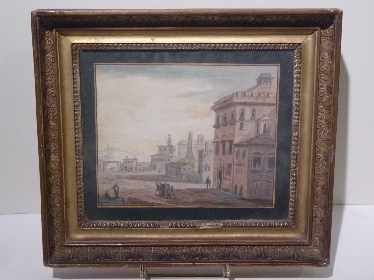 Abraham Rademaker (1676-1735) Ville Italienne, Aquarelle