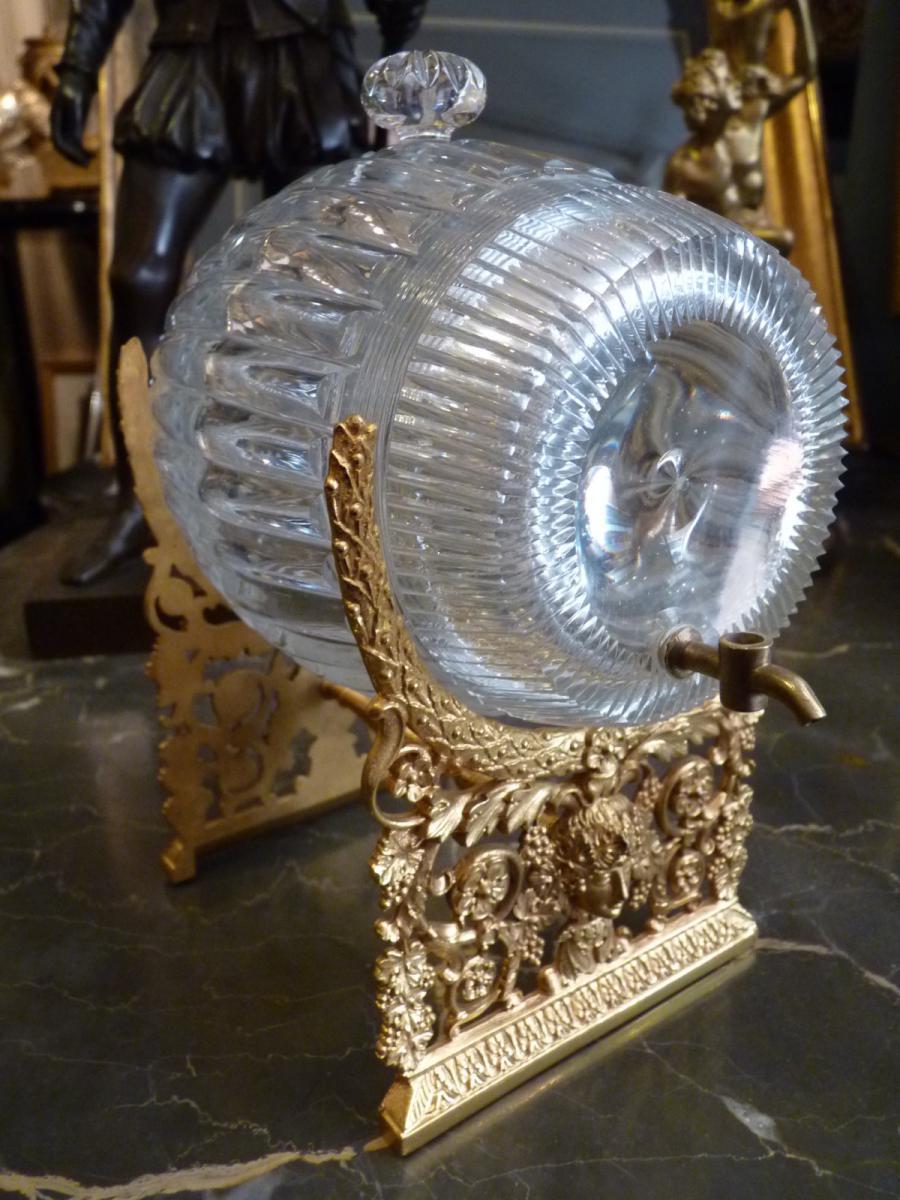 Tonneau à Liqueur En Cristal De Baccarat, Monture En Bronze Doré, époque Charles X