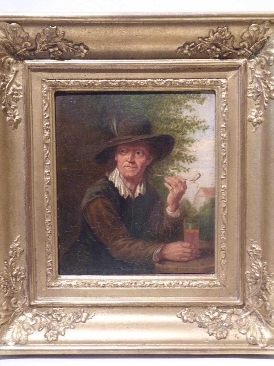 Man With Pipe, Dutch School, 1845