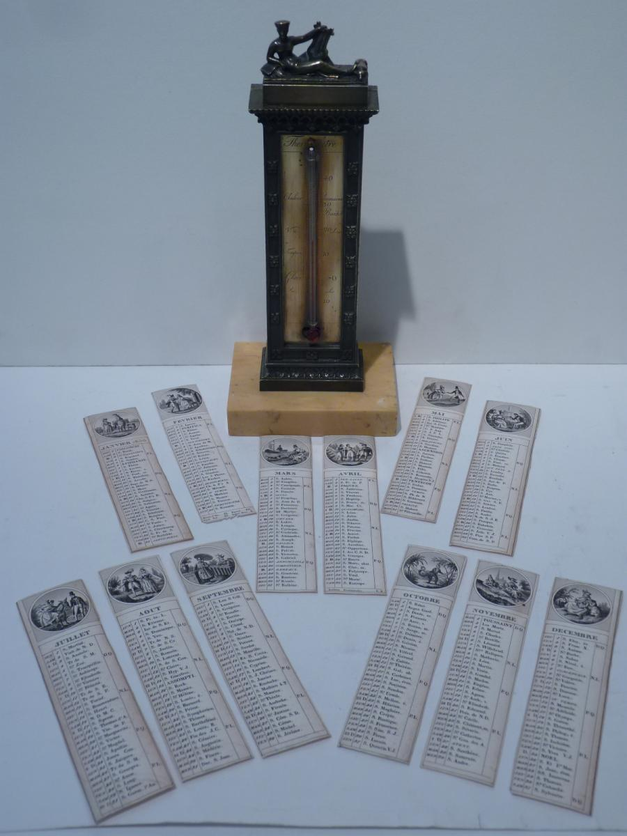 Thermomètre Calendrier, Bronze, Epoque Restauration