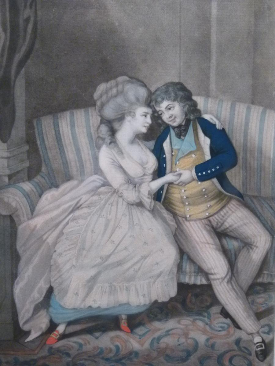 English Engraving 18th Century, Tenderly Talking Couple