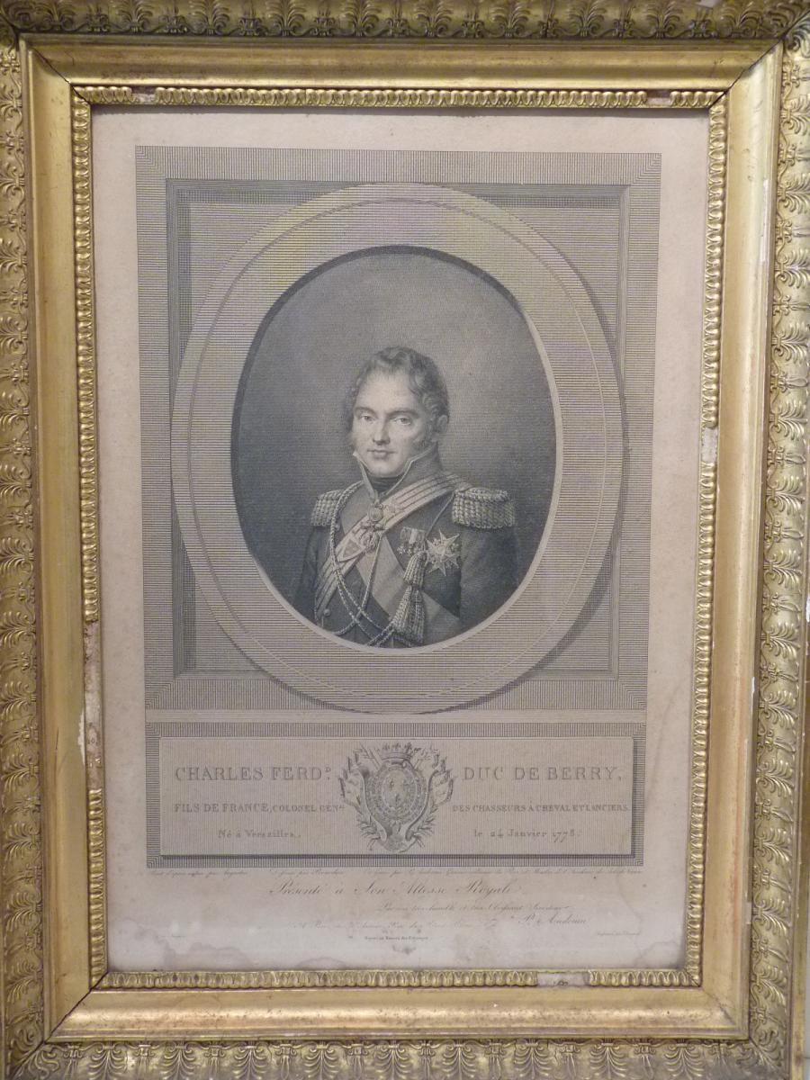 Duc de Berry, gravure Jean Baptiste Augustin Ep Restauration