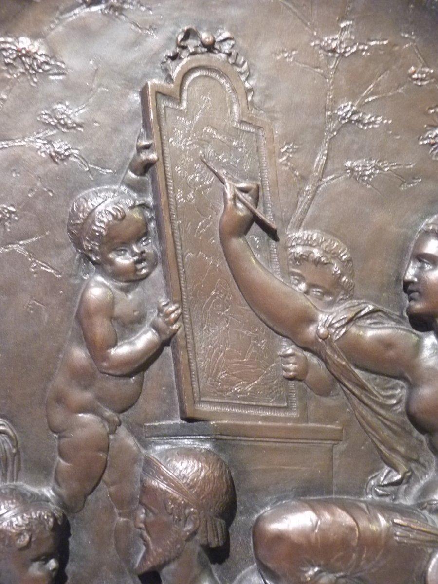 Jean Baptiste Germain (1841-1910) Allégorie des Arts, Médaillon Bronze Patiné-photo-1